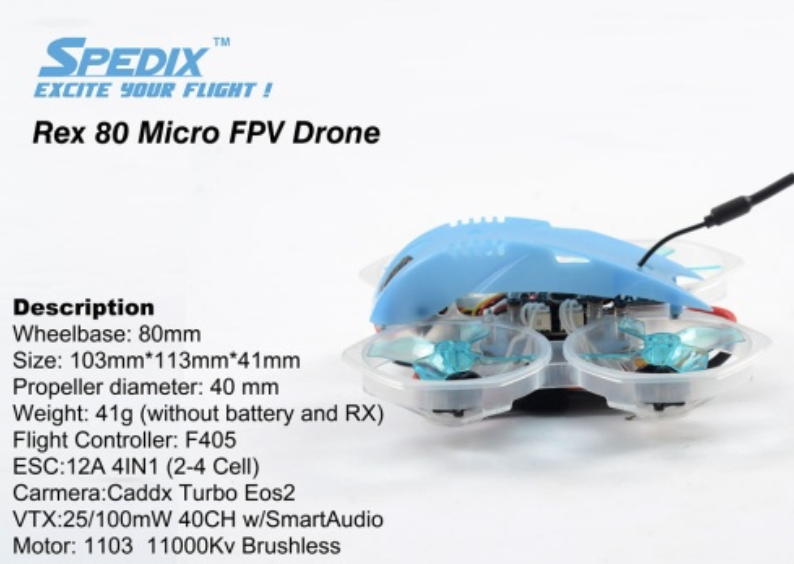Spedix Rex 80mm Micro Brushless FPV Drone