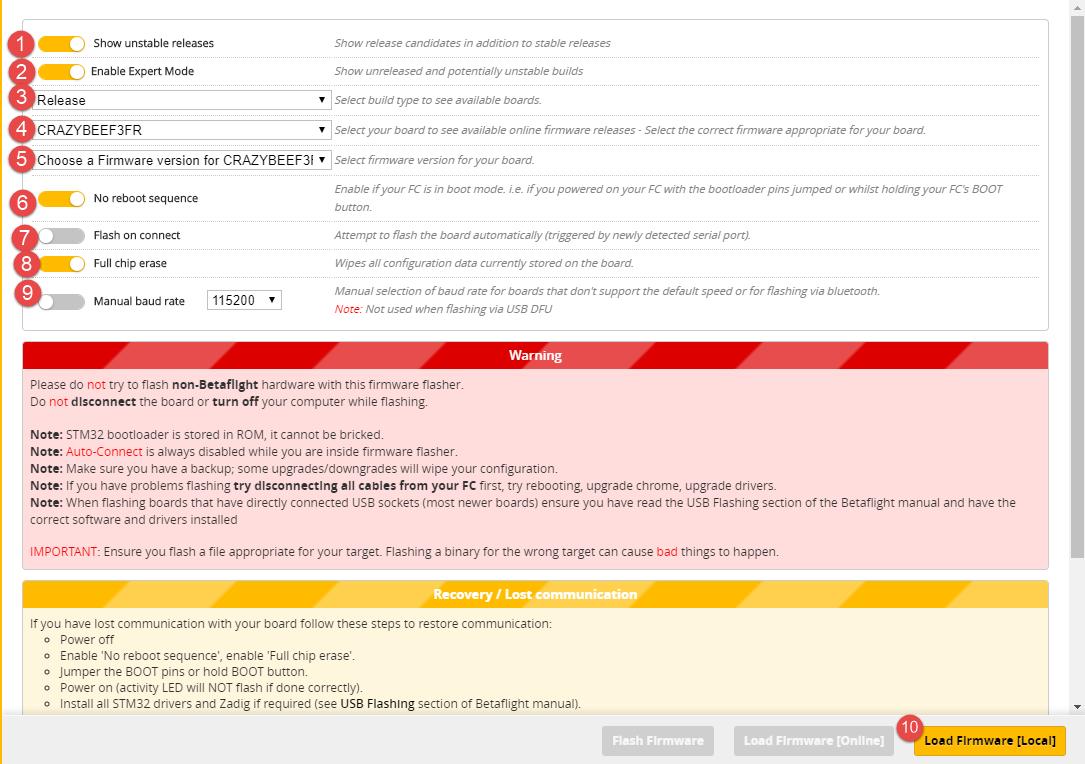BetaFlight Configurator Flashing Firmware – icantfly