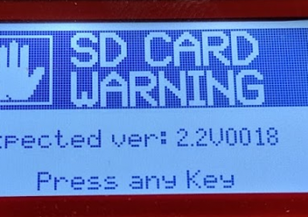 SD Card Warning Expected Ver: 2.2V0016